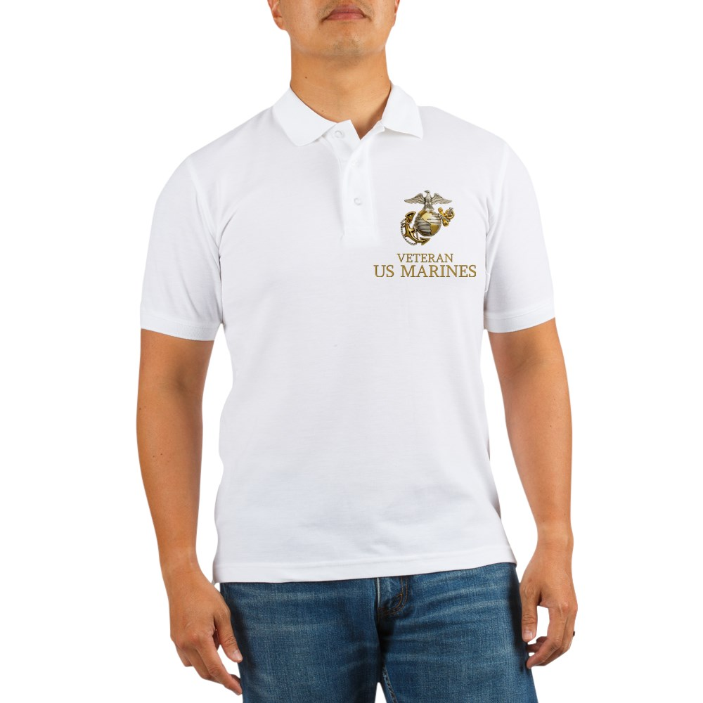 CafePress - USMC Veteran Golf Shirt - Golf Shirt, Pique Knit Golf Polo