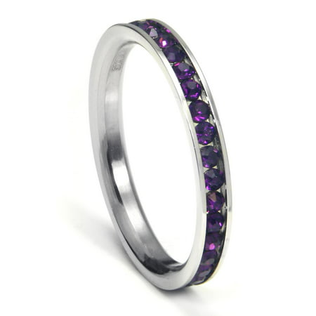 316L Stainless Steel Amethyst Purple Cubic Zirconia CZ Eternity Wedding 3MM Band Ring Sz 7