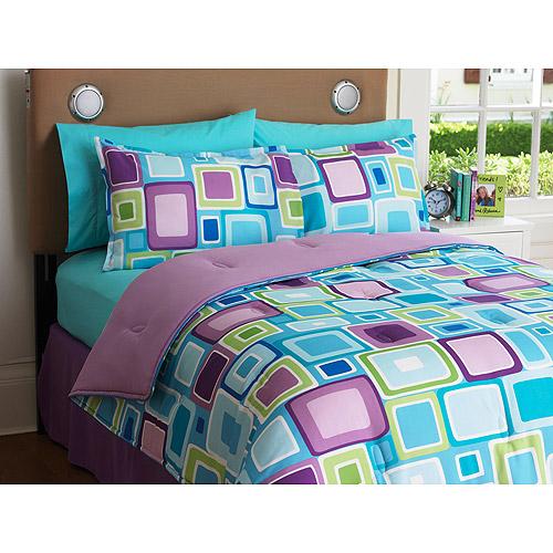 Your Zone Reversible Comforter & Sham Set, Aqua Geo/Iris