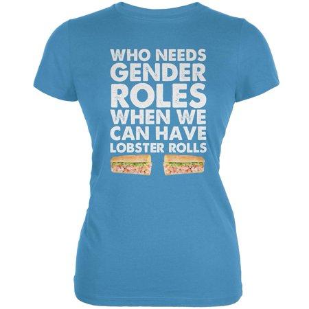 Who Needs Gender Roles - Lobster Rolls Aqua Juniors Soft T-Shirt