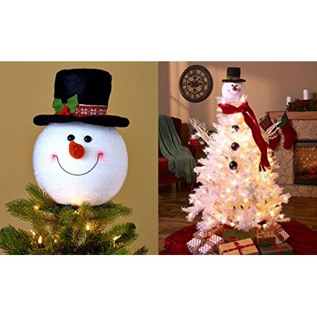 frosty snowman top hat christmas tree topper decor holiday winter wonderland decoration