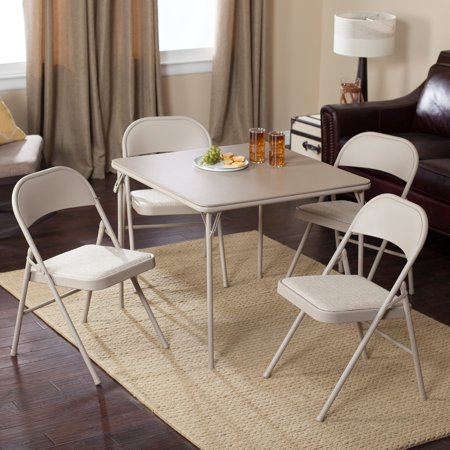 Meco Sudden Comfort Deluxe Single Padded Seat and Back-5 Piece Card Table Set - Buff Lace