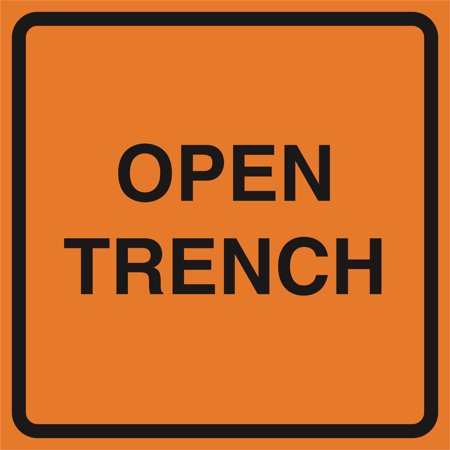 Open Trench Orange Construction Work Zone Area Job Site Notice Caution Road Street Signs Commercial Plastic Squa, 12x12 - Gear Zone Products