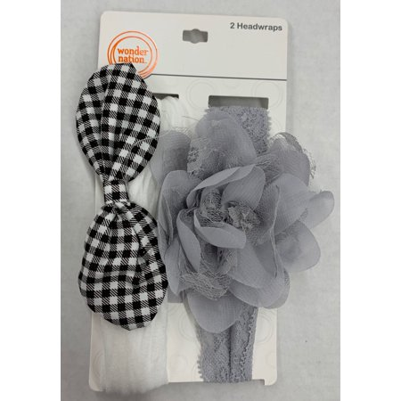 Wonder Nation Gingham Bow Headwrap, 2 Piece