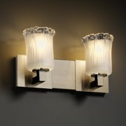 Justice Design Group  2-light Rippled Rim Brushed Nickel with Frosted Glass Vanity Fixture