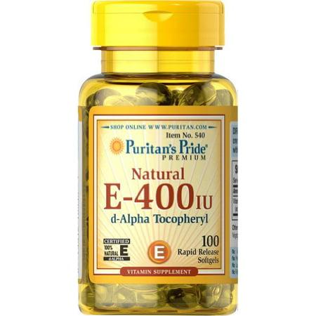 Puritans Pride Vitamin E 400 Iu 100 Natural 100 Softgels Walmartcom