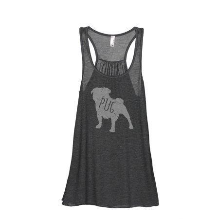 Thread Tank Pug Dog Silhouette Women's Sleeveless Flowy Racerback Tank Top Charcoal Small Designer Line Silhouette Open Top