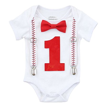 Noah's Boytique Baby Boy First Birthday Outfit Baseball Theme Party Shirt Red Bow Red Number One 12-18 Months