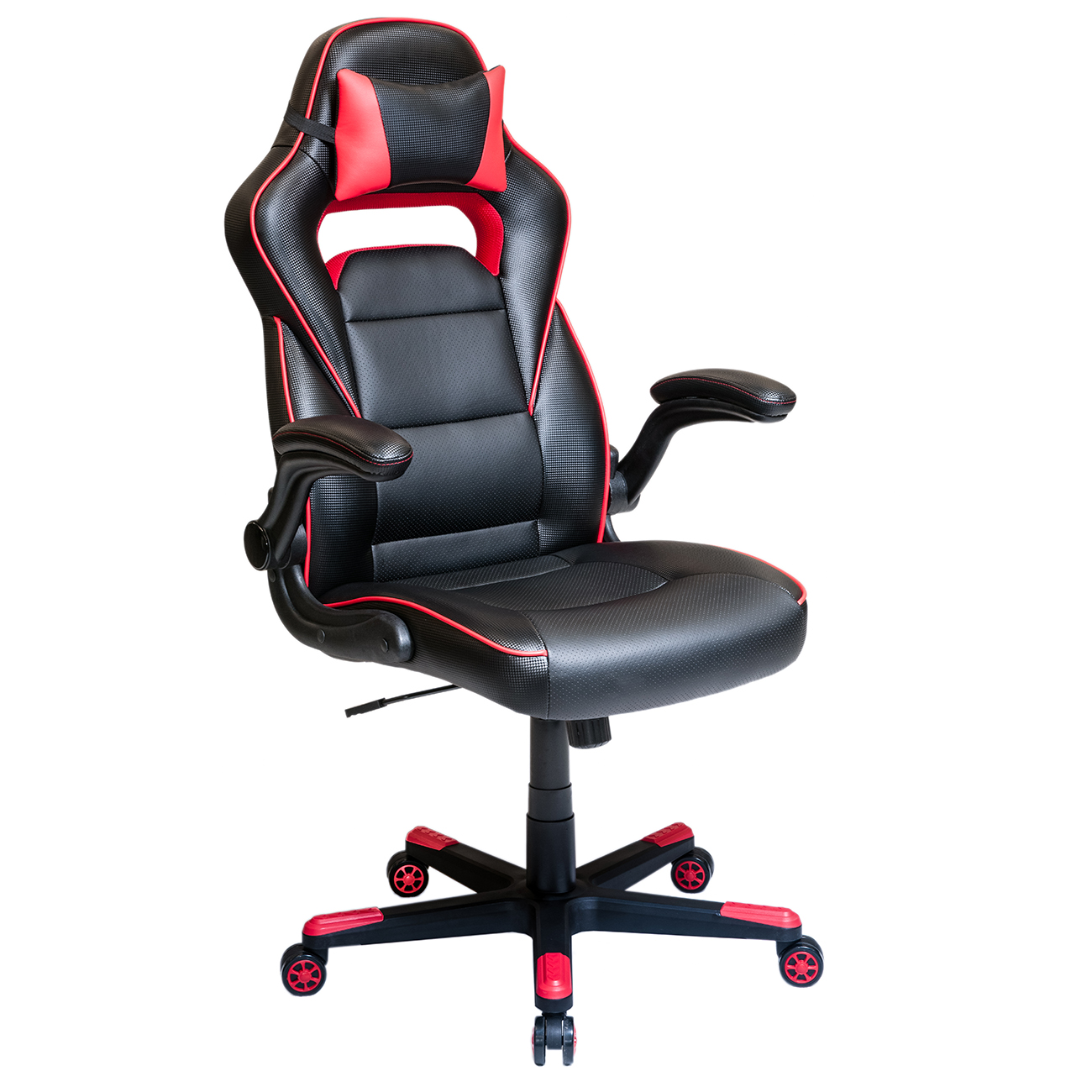 Techni Mobili Adjustable Office Chair with Detachable Headrest Pillow and Flip Up Arms, Red (RTA-2019-BK)