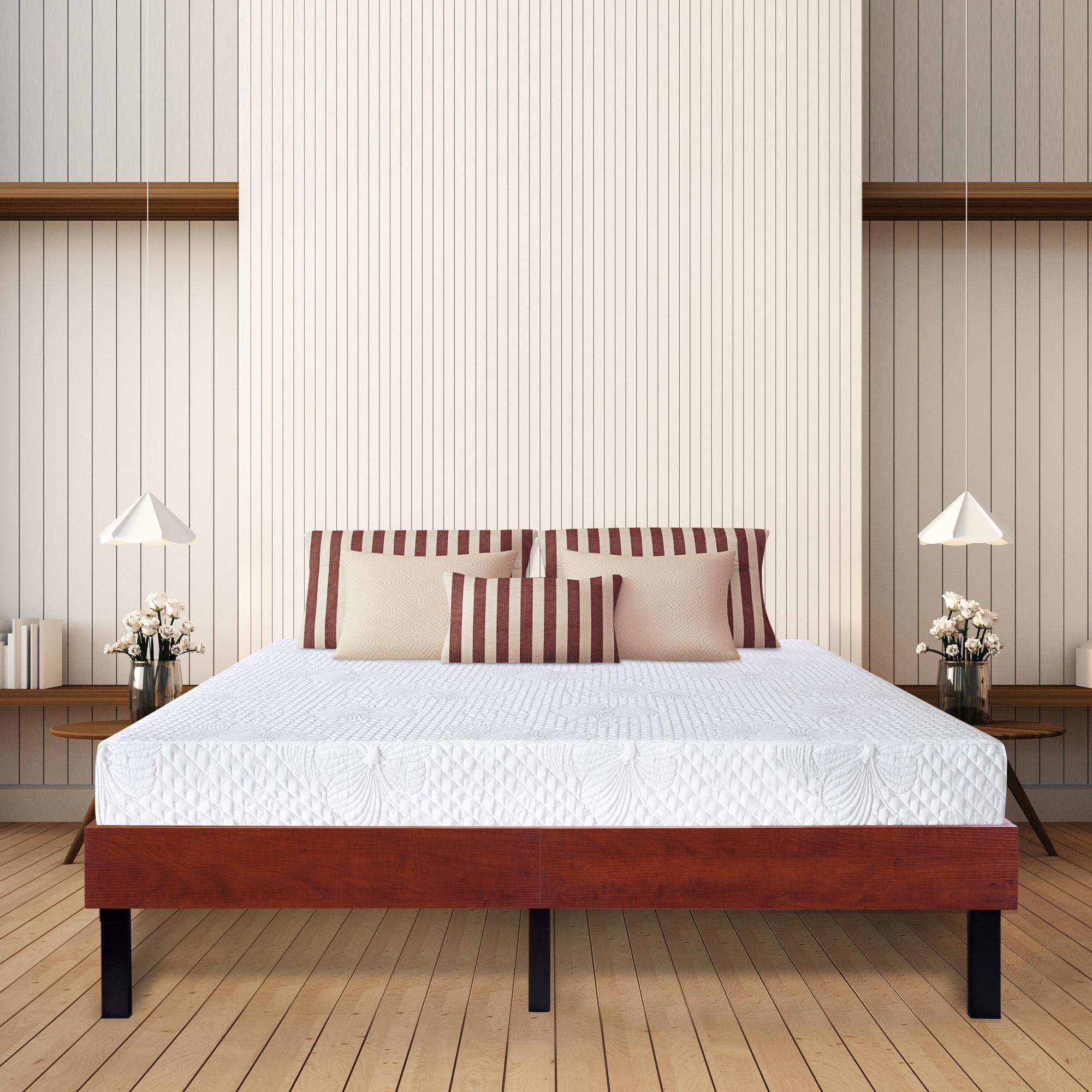 GranRest 14 Inch Wood Platform Bed Frame/ Steel Slat support, Classic Brown