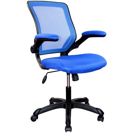 Techni Mobili Mesh Task Office Chair with Flip-Up Arms, Blue