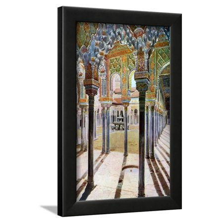 Metal Granada Wall - Court of the Lions, the Alhambra, Granada, Andalusia, Spain, C1924 Framed Print Wall Art