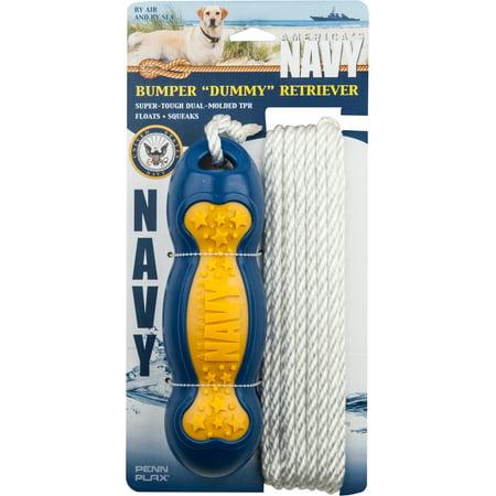 "Us Navy Retrieval 9""X2.75"" Bumper Dummy W/24' Of Rope-Yellow/Blue - image 1 de 1"