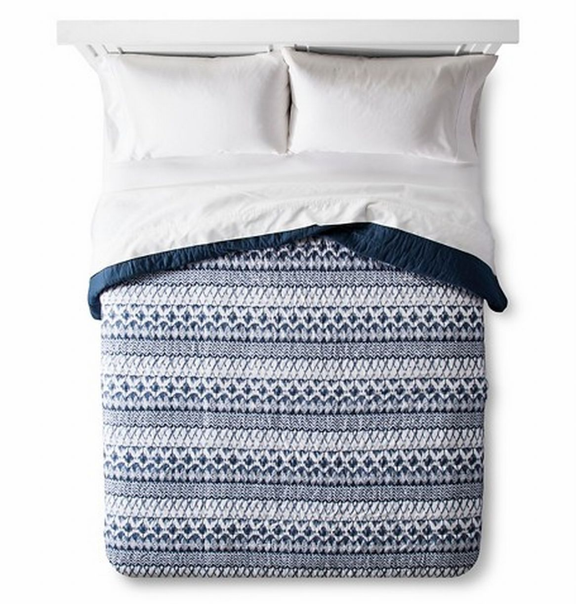 Threshold King Blue Ikat Quilt Cotton Bed Comforter