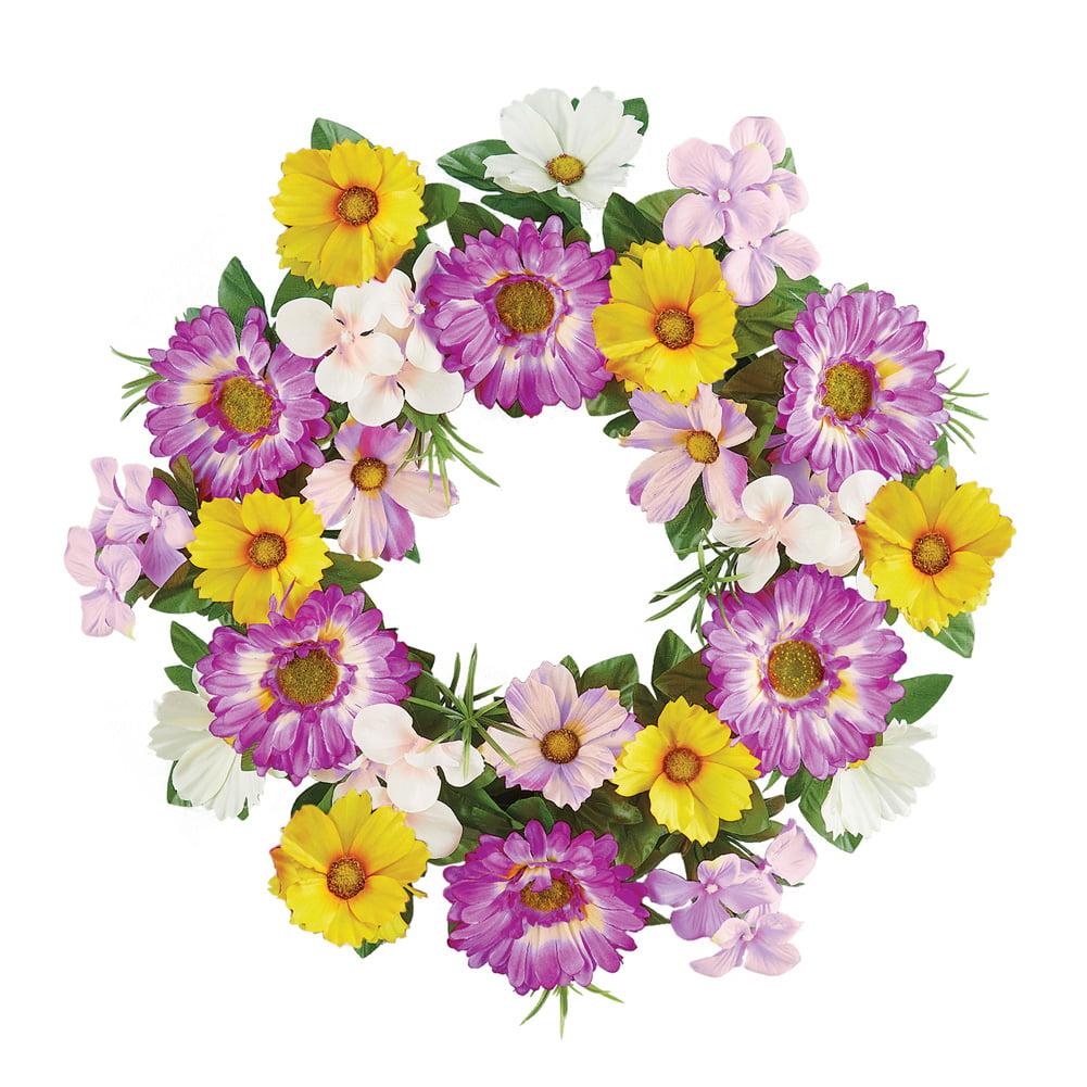 "Gerber Daisy Wildflower Summer Front Door Wreath Floral Decoration, 17"" Diam"