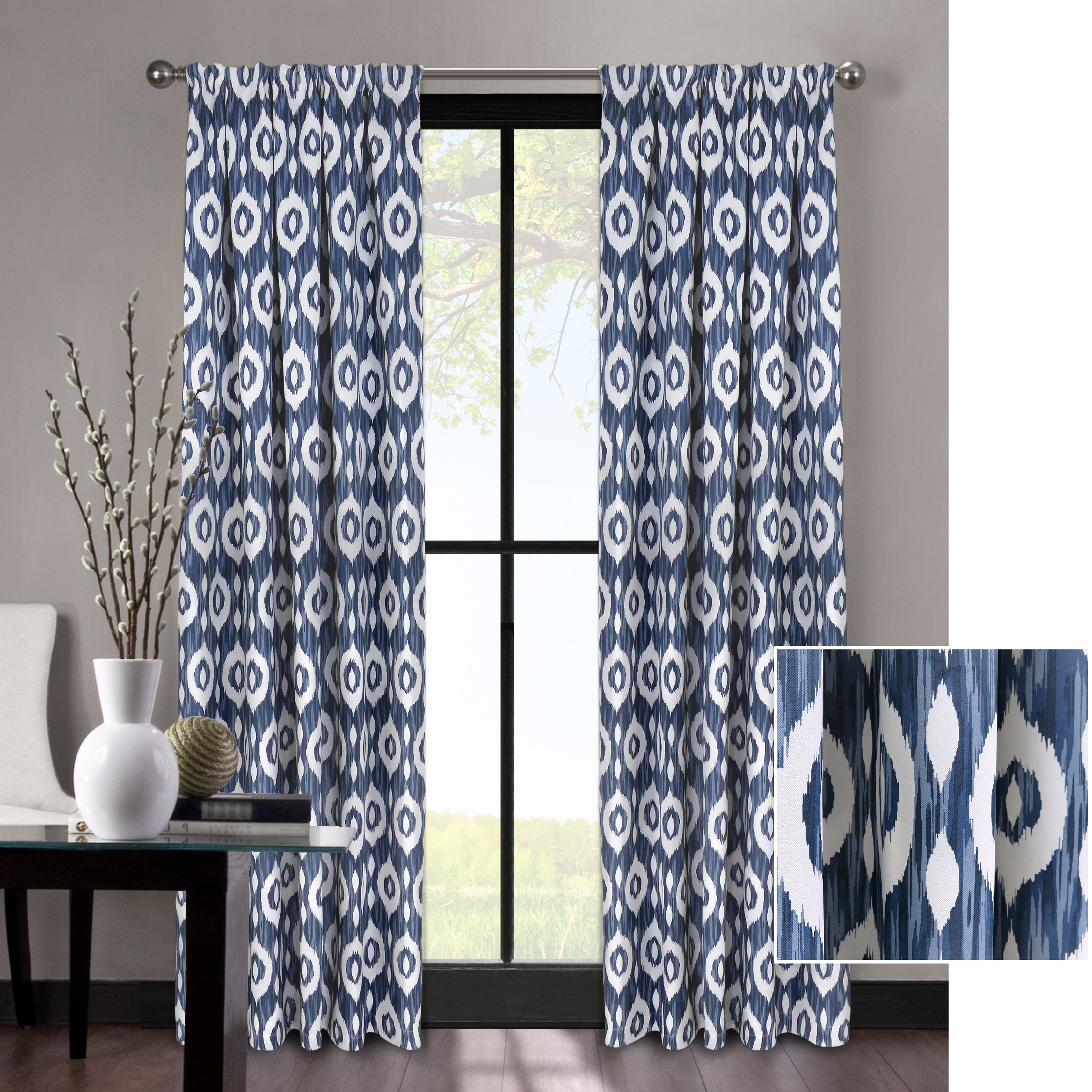 Better Homes and Gardens Tribal Ikat Natural Room Darkening Window Curtain Panel