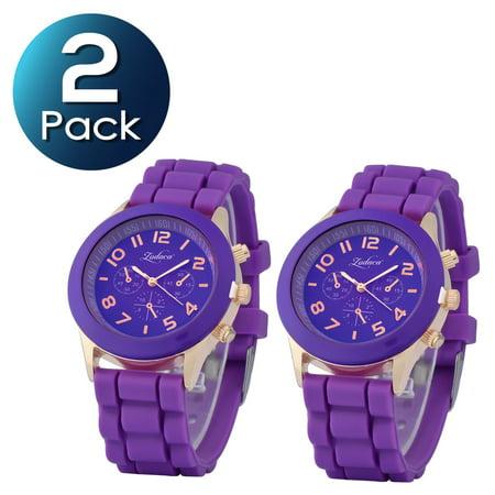 2 Pack Zodaca Purple Unisex Men Women Silicone Jelly Quartz Analog Sports Wrist Watch