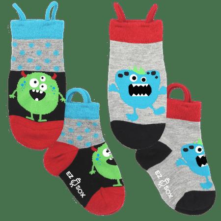 Ez Sox Kids Toddler Socks Seamless toe, Non Skid grips, Pull Up Loops, Monster Polkadots, 3-5 (Best Seamless Socks For Kids)