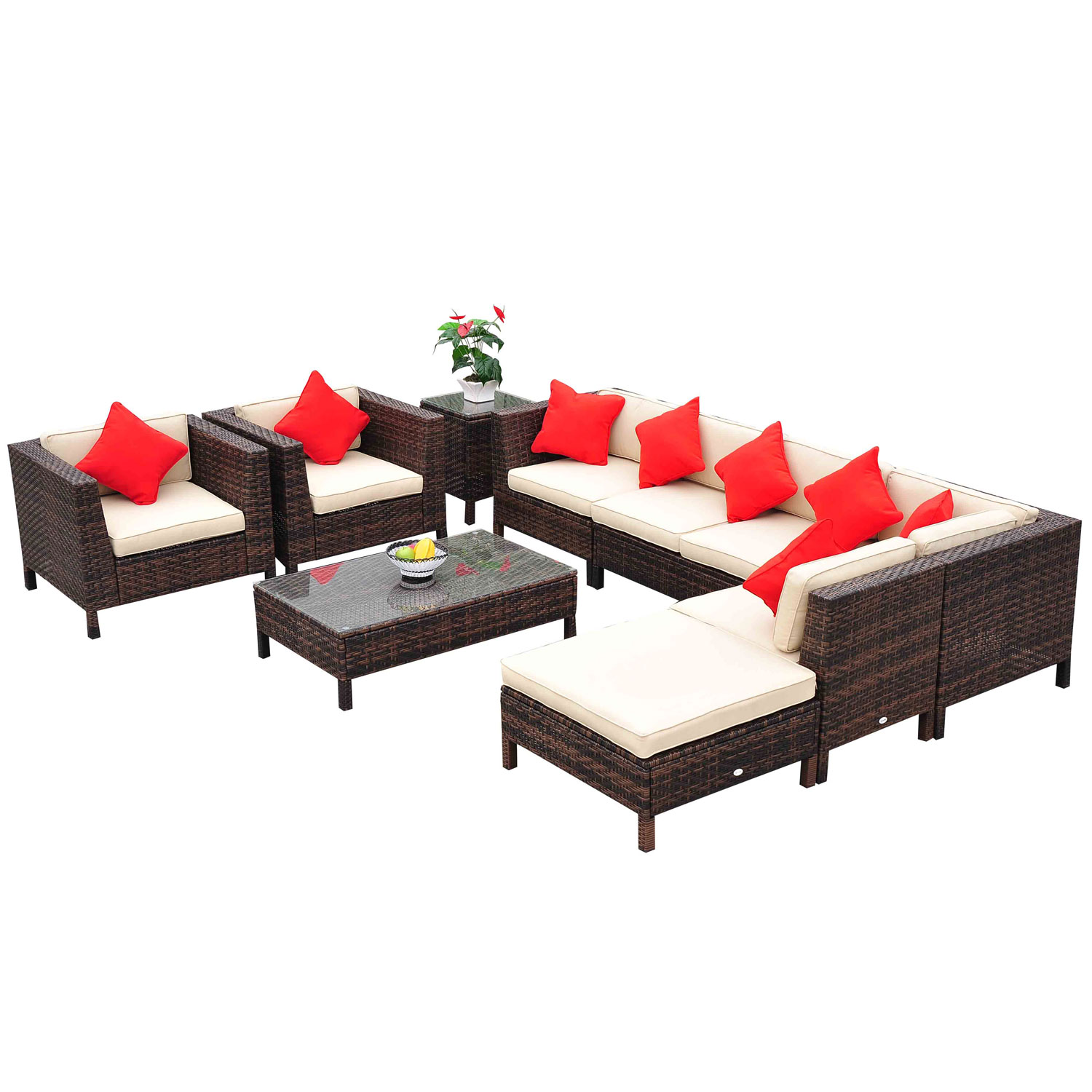 Outsunny 9 Piece Outdoor Rattan Wicker Sofa Sectional Patio Conversation Set by Aosom LLC