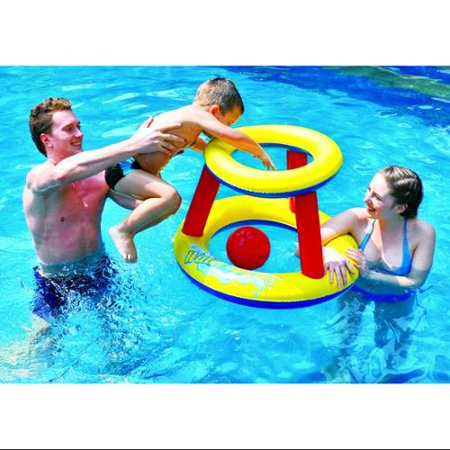 29 Red Yellow And Blue Inflatable Swimming Pool Water Sports Basketball Game Set