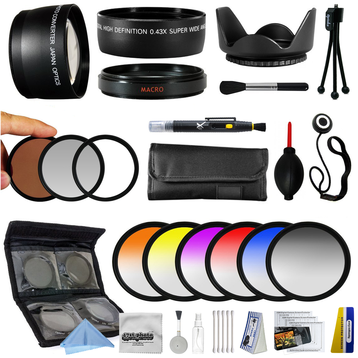 25 Piece Advanced Lens Package For Nikon 1 AW1 J1 J2 V1 V2 S1 J3 Mirrorless Digital Cameras Includes 0.43X + 2.2x Lens + 3 Piece Filters + 6 Piece Colored Graduated Filter Set