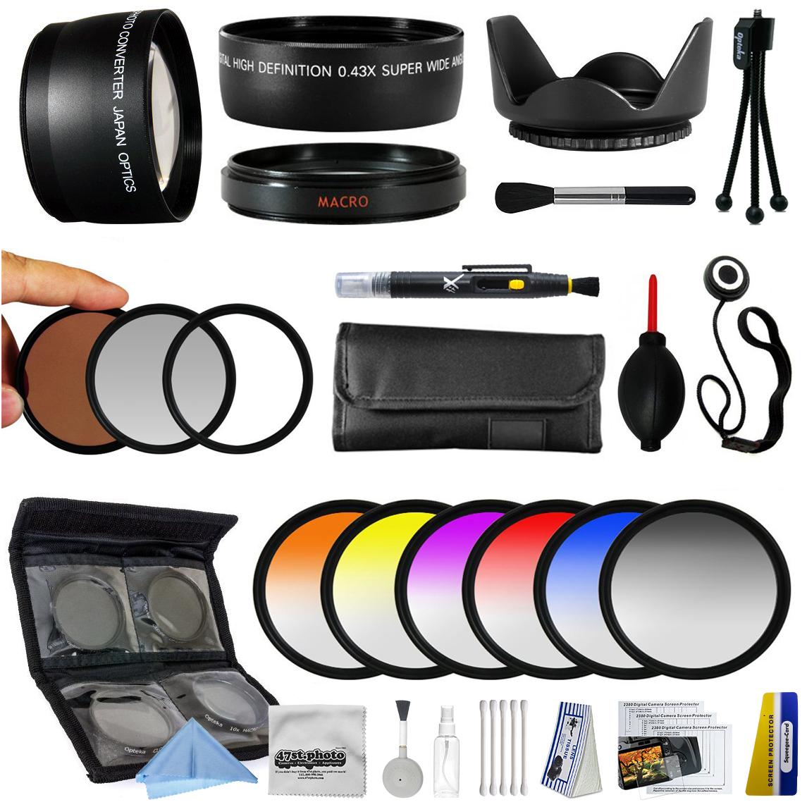25 Piece Advanced Lens Package For Nikon 1 AW1 J1 J2 V1 V2 S1 J3 Mirrorless Digital Cameras Includes 0.43X + 2.2x Lens + 3 Piece Filters + 6 Piece Colored Graduated Filter Set