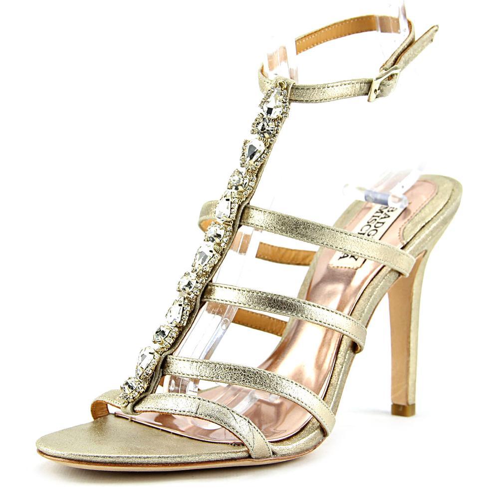 Badgley Mischka Elect II Women Open Toe Leather Gold Sandals by Badgley Mischka