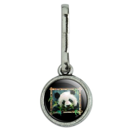 Panda Bear Bamboo Antiqued Charm Clothes Purse Suitcase Backpack Zipper Pull Aid