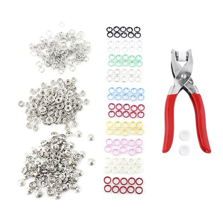 WALFRONT 100pcs 9.5mm Mixed Colours Prong Ring Press Studs Snap Fasteners Tool Kit with Pliers DIY Home Use, Press Studs Snap Buttons Rings Fasteners Kit for Both Clothing Shop or Home Use