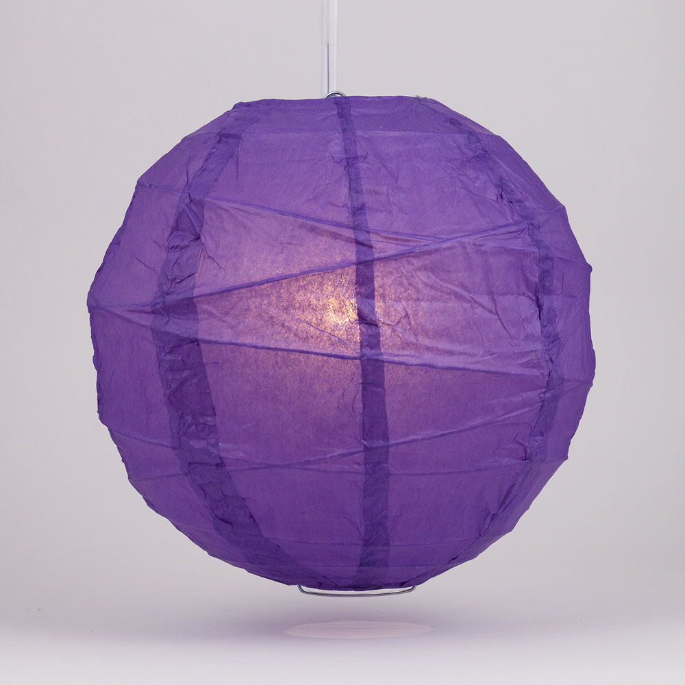 "Quasimoon 12"" Royal Purple Round Paper Lantern, Crisscross Ribbing, Hanging Decoration by PaperLanternStore"