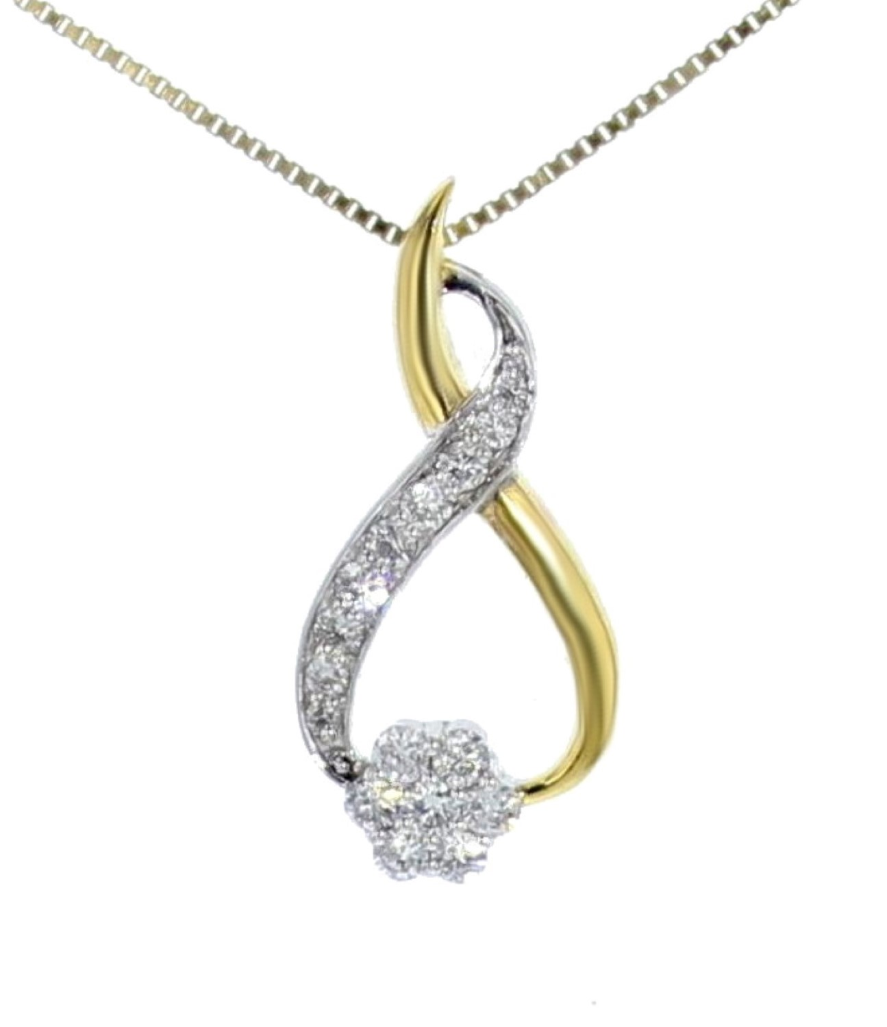 Midwest Jewellery Diamond Pendant for Womes Lotus Leaf Pendant Leaf 0.07ctw Yellow Gold-Tone Silver