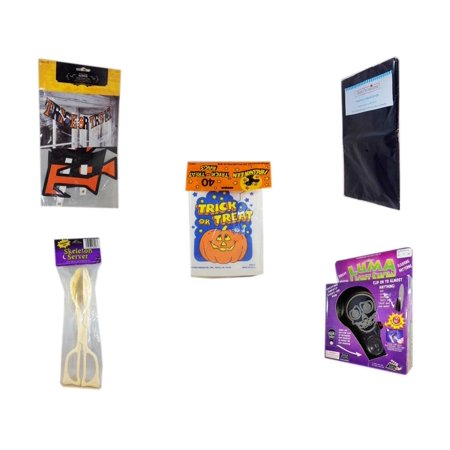 Halloween Fun Gift Bundle [5 Piece] - Trick or Treat Banner 42.5 x 5 Inches - Black Plastic Table Cover  -  Trick or Treat Bags 40/ct - Skeleton Server  -  Luma Light Show Flashing Skeleton Face for $<!---->
