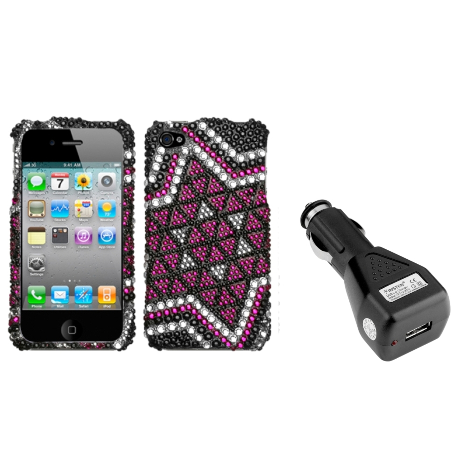 Insten Solitaire Premium Case (w/Package) For iPhone 4 4S   USB Car Charger