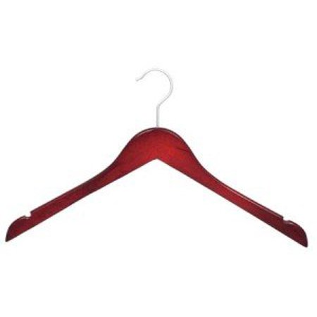 Wood Top Hanger, Box of 50 Space Saving 17 Inch Flat Wooden Hangers w/ Cherry Finish & Brushed Chrome Swivel Hook & Notches for Shirt Jacket or Dress by International Hanger