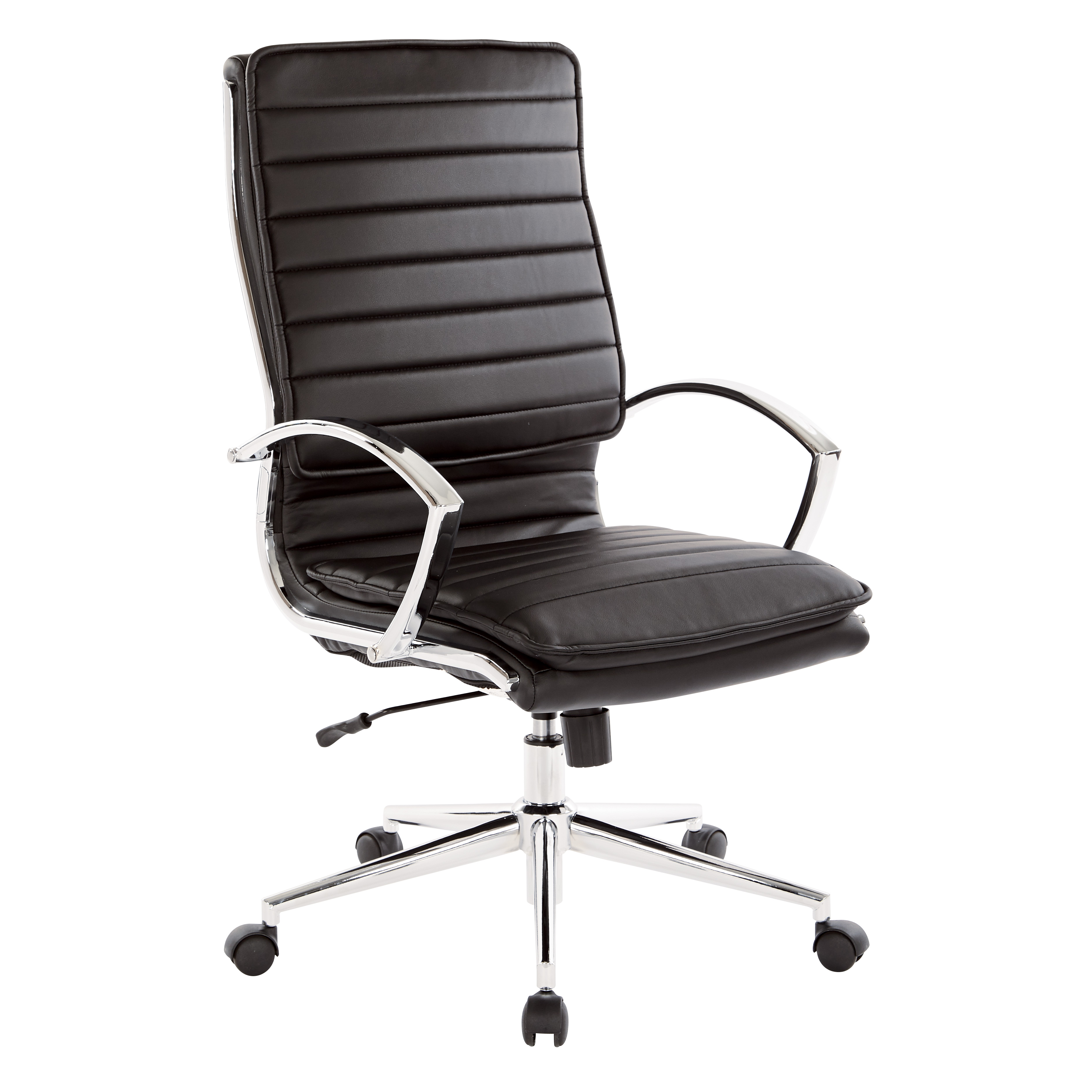 High Back Manager's Faux Leather Swivel Office Chair in Black with Chrome Base
