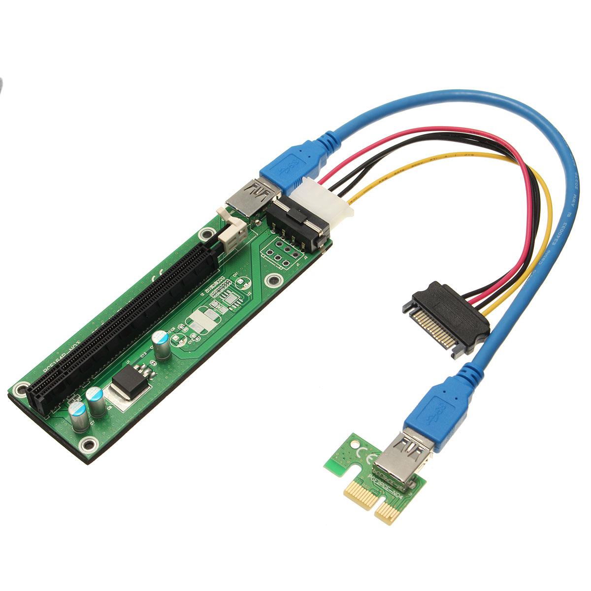 USB 3.0 PCI-E Express 1x to16x Extender Riser Board Card Adapter SATA Cable
