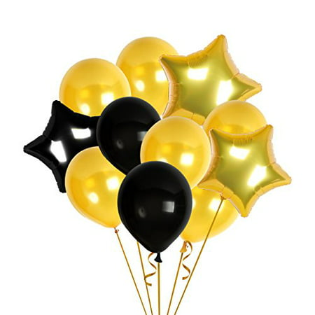 Happy Birthday Decorations Bday Banner Party Kit Pack B-day Celebration Supplies with Gold and Black Stars Balloons + Extra Large Golden Fringe Curtain for Men or Women (85) - B-day Party