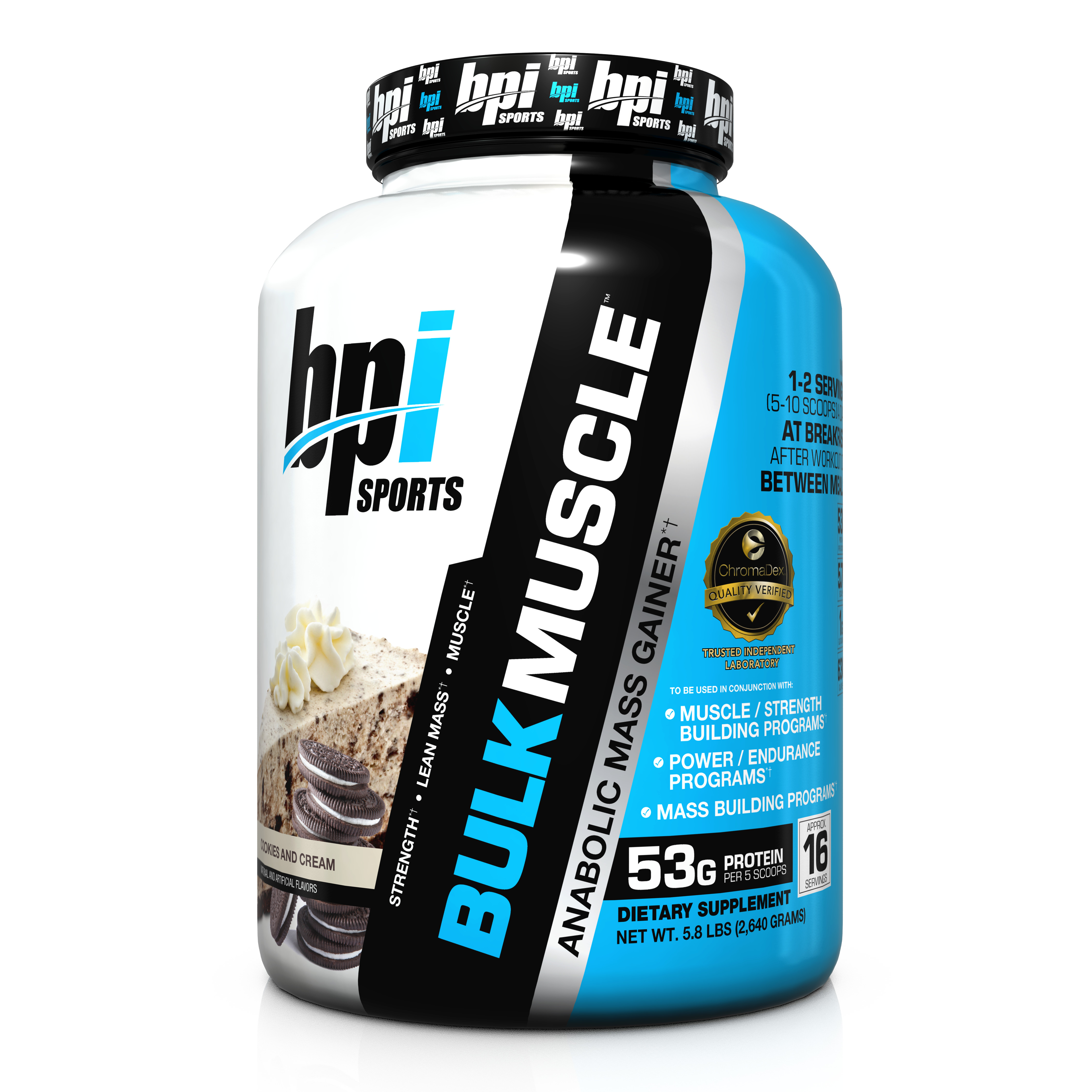 BPI Sports Bulk Muscle Protein Cookies And Cream, 16 Servings