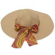 womens Tan Multi Color Band Bow Chain Detail Wide Brim Sun Hat