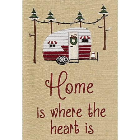 Home is Where the Heart Is Camper Holiday Campground Embroidered Kitchen