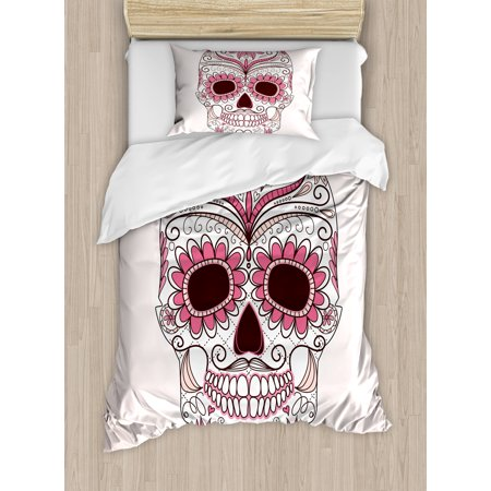 Sugar Skull Duvet Cover Set, Mexican Ornaments Calavera Catrina Inspired Folkloric Art Macabre, Decorative Bedding Set with Pillow Shams, Pink Pale Pink White, by Ambesonne