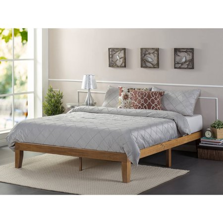 Zinus Solid Wood Platform Bed Rustic Pine Multiple Sizes