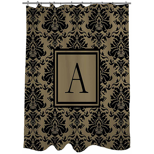 thumbprintz damask monogram black and gold shower curtain