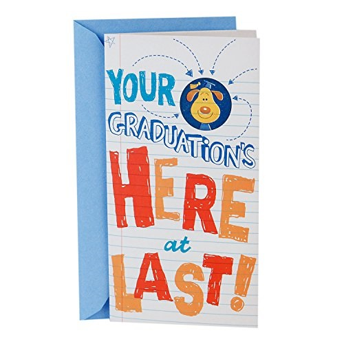 "Hallmark Money Holder or Gift Card Holder Graduation Greeting Card With Song Dog in Graduation Cap, Plays ""Celebration"" by Kool"