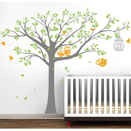 Pop Decors Nursery Tree With Cute Owls Wall Decal