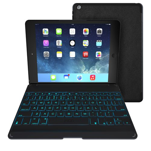 Refurbished ZAGG ZKFHFBKLIT105 Folio Case & Backlit Bluetooth Keyboard for iPad Air - Black