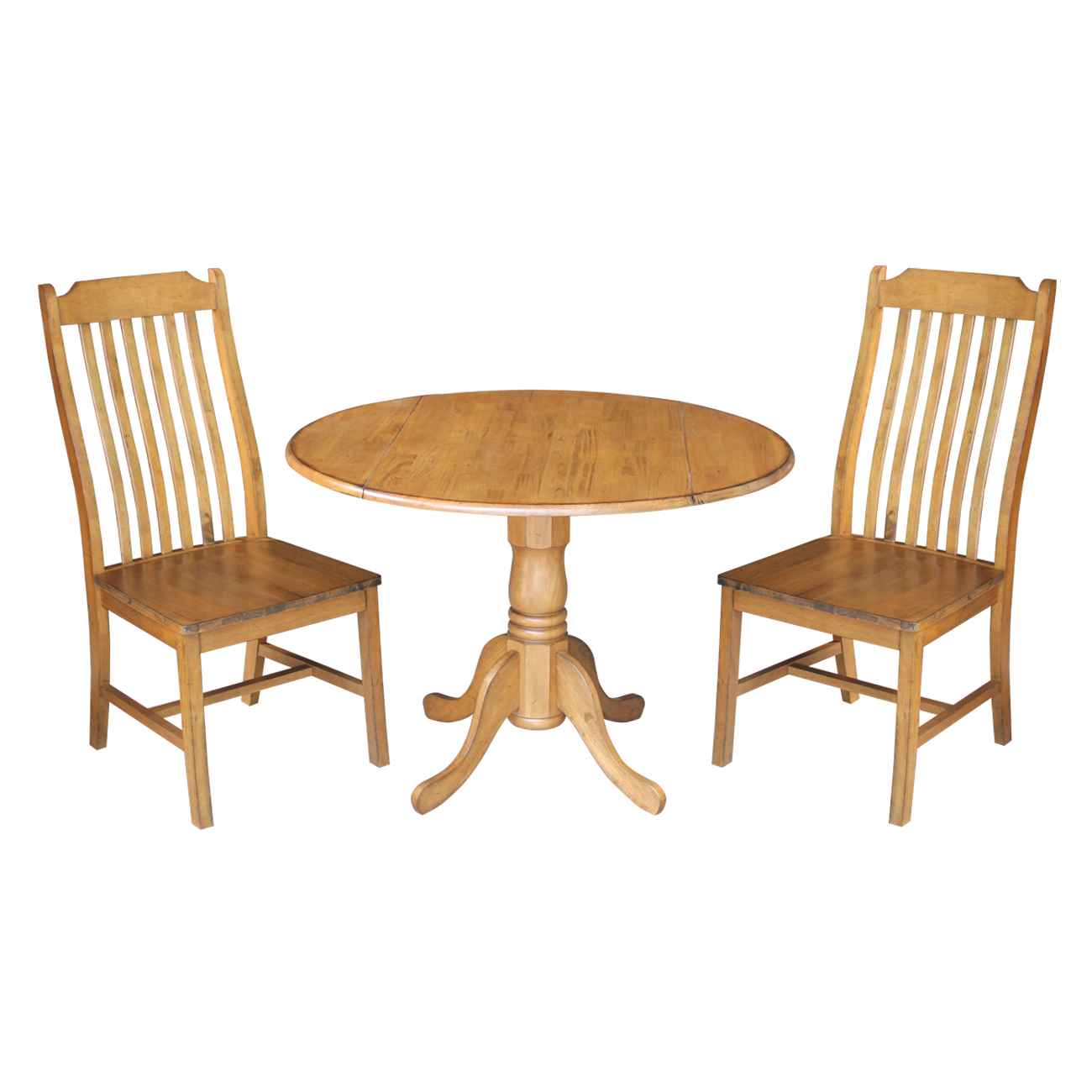 """42"""" Dual Drop Leaf Table and 2 Steambent Mission Chairs in Pecan - 3 Piece Set"""