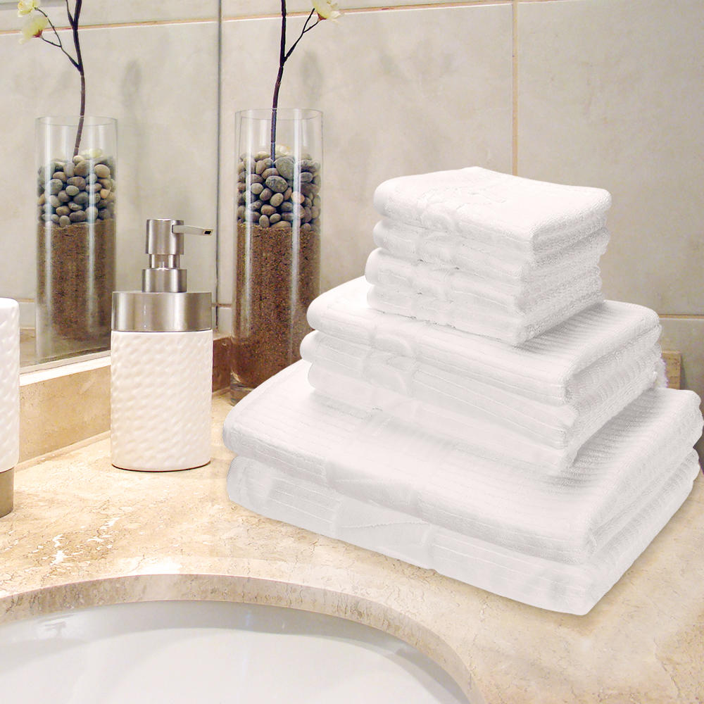 8-Piece Premium Towel Set 100% Cotton, 2 Bath Towels, 2 Hand Towels 4 Washcloths,White-LIVINGbasics - image 4 of 5
