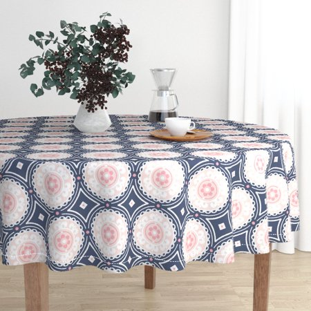 - Round Tablecloth Navy And Pink Navy And Pink Medallion Circle Cotton Sateen