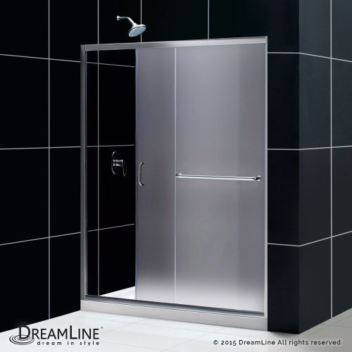 "DreamLine DL-697 Infinity Z Shower Door and Base Kit With Drain Position: Left Drain And Finish: Brushed Nickel And Glass Type: Frosted Glass And Dimensions: W 60"""" x D 34"""" x H 74 3/4""""."